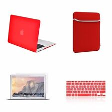 "4 IN 1 Macbook Air 13"" Red Rubberized Hard Case + Keyboard Cover + LCD + Bag"