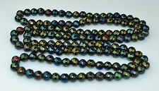 """VINTAGE HEAVY HAND-CUT FACETED IRIDESCENT BLACK GLASS BEAD NECKLACE 41"""" LONG"""