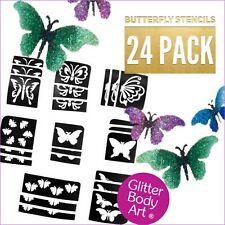 Butterflies Glitter Tattoo Stencils - 24 Pack