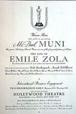 Paul Muni 1937 LIFE of EMILE ZOLA Sondergaard Hollywood Theater Matted Print Ad