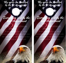 Second Amendment US flag eagle Cornhole Board Skin Wrap Decal Set -LAMINATED