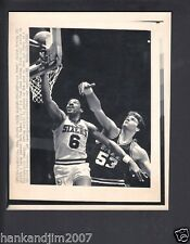 Julius Erving Layup against Mark Eaton 1985 Small Vintage A/P Laser Wire Photo
