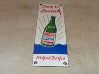 "VINTAGE DRINK LIFT BEVERAGES +AIRPLANE 12"" PORCELAIN METAL GAS OIL SODA POP SIGN"