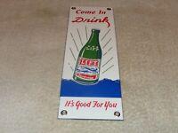 """VINTAGE DRINK LIFT BEVERAGES +AIRPLANE 12"""" PORCELAIN METAL GAS OIL SODA POP SIGN"""