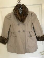 Girls Coat Size 5/6, Faux Trim Fur-leopard, Wool/Polyester Shelf-beige