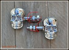 X2 paire de Clignotants Visage Skull Chrome (Sportster Iron forty nighster VN )