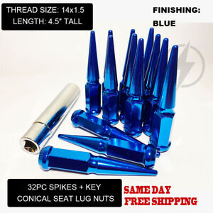 FIT GMC SAVANA SIERRA 2500 3500 HD DUALLY SPIKE LUG NUTS 4.5'' 14x1.5 BLUE 32PC