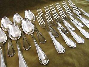 12 couverts de table métal argenté Ercuis Sully (dinner forks soup spoons) (84)