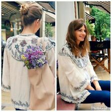 New Zara Sequin Bead Embroidered Jacket Kimono Cotton Linen Blend Size 10 12 M