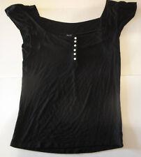 Women's Gap Stretch Black Short Sleeve Shirt Blouse Size M