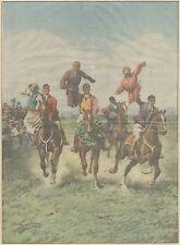 K0088 Corsa a cavallo coi fantocci nelle campagne di Berlino - Stampa del 1930