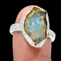 Ethiopian Opal Rough 925 Sterling Silver Rings Jewelry s.8 RR201504
