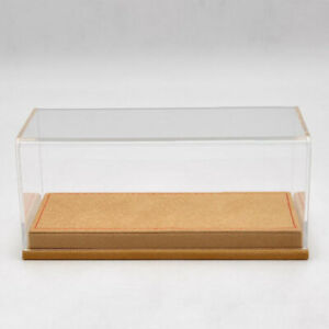 Display Case Acrylic Boxes Transparent Dustproof Brown Flannel Base Models 1:43