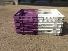 10 x Purple White Two Tone Plastic Storage Boxes Stacking Trays 60 x 40 x 9cm
