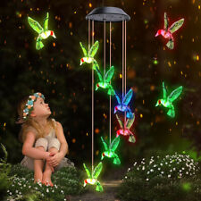 More details for waterproof outdoor hanging led solar hummingbird wind chimes lights garden rgb