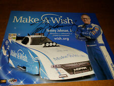 NHRA FUNNYCAR TOMMY JOHNSON JR AUTOGRAPHED 8X10 HANDOUT PHOTO CARD