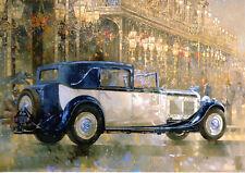 Large Christmas Card 1931 8 litre Bentley Sedanca De Ville at Christmas Lights