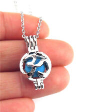 """K531 Silver Beads Cage 25mm Round Yoga Om Aum Symbol Stainless Necklace 18"""""""