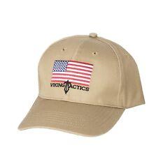 Viking Tactics VTAC Logo Hat - American Flag - Khaki - Box Shipped - NEW
