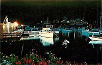 Perkins Cove Ogunguit Maine Postcard docked boats marina Night View
