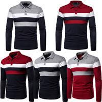USA Mens Casual Shirts Long Sleeve Warm Cotton Striped Print T Shirt S -2XL