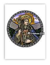 © ART - Portrait of St Saint Hilda of Whitby round - Original Artist Print by Di