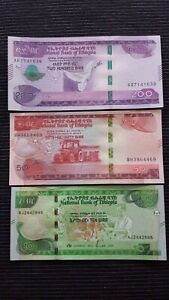 ETHIOPIA 200 50 & 10 Birr 2020 P New x 3 UNC Banknote Set
