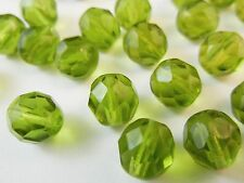 30pc 8mm Olive Green Trans Fire Polished Czech Glass Faceted Round Beads (fc820)
