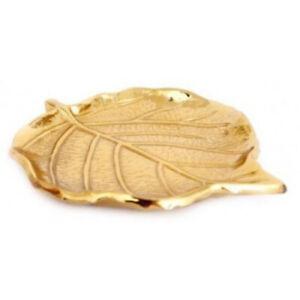 Gold Coloured Metal Leaf Trinket Dish Tray Key Jewellery Ladies Gifts 12.5cm