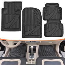 FlexTough Performance Floor Mats for Auto Car SUV Truck Modern Black Rubber