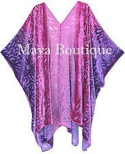 Pink Purple Camellia Burnout Velvet Caftan Kimono Duster Hand Dyed Maya Matazaro