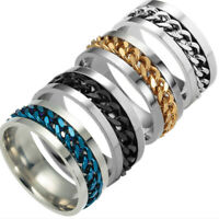 Men Women Titanium Stainless Steel Rotatable Chain Ring Wedding Band Jewelry