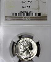 1965-P MS67 Washington Quarter 25c, NGC Graded, Business Strike!