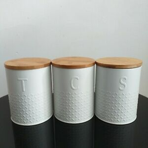 White Embossed Knit Effect Tea Coffee Sugar Kitchen Storage Tins pots set of 3