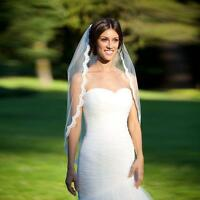 White Ivory Short Wedding Veil Bridal Veil elbow Length Lace Edge with comb