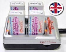 4 x iPowerUS Li-Polymer Rechargeable 9V 700mAh Batteries & FC-9V4LN Charger Kit