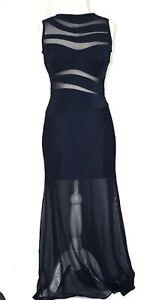 Tadashi Shoji Size M Blue Sleeveless Transparent Detail Maxi Dress