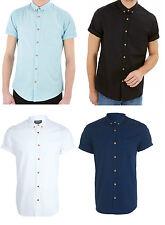 New Mens Casual Shirts Short Sleeve Plain Basic Slim Fit Shirt Top S M L XL PS04