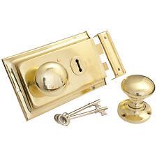 Rim Lock - Brass + VICTORIAN RIM KNOB    Not Electro Plated