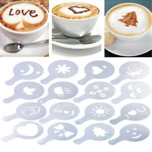 Coffee Machine Barista Stencils Template Strew Flowers Pad Duster Spray Art