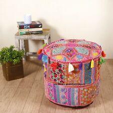 Pouf Indian Ottoman Cover Vintage Patchwork Round Ethnic Handmade Cotton Poufs