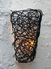 Fluted Led Wall Sconce with Interlocking Twine Flicker Flame Wireless Free Sh