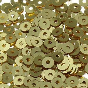 2400 Pailletten 3mm Hell Gold Rund Glatt Perlen Basteln Nähen Deko BEST PAI28