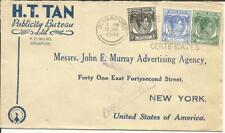 Malaya-Strait Settlements SG#278,#285,#279 SINGAPORE 24/JAN/1941 WWII
