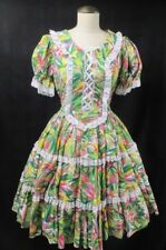 Vintage Jeri Bee Square Dancing Dress Floral Corset Rockabilly Full Skirt 10