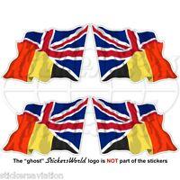 BELGIUM-United Kingdom Flying Flag Belgian-UK British Union Jack 50mm Sticker x4