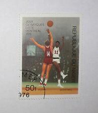1976 OLYMPIC GAMES MONTREAL CANADA Original Republic of Nigeria Basketball Stamp