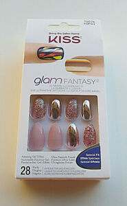 Nails KISS Glam Fantasy Artificial Nails Gel Effect 28 Nails Special FX Pink NWT