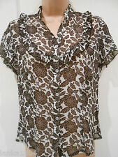 M&S Brown Mix Cap Sleeve Polyester See Through Party Top Blouse (NEW)-UK size 10