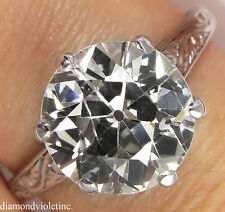 2.86CT ANTIQUE DECO OLD EURO DIAMOND SOLITAIRE ENGAGEMENT WEDDING RING PT EGL US